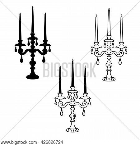 Three Armed Candelabrum Or Candle Holder. Vector Silhouette Of Classic Antique Candlestick Is Isolat
