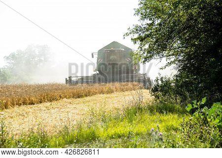Harvesting Of Grain Crops With A Combine Ukraine