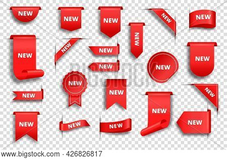New Red Tags. Realistic Promo Sale Ribbons, Labels, Corners, Stickers. Price Badge, Discount Banner,