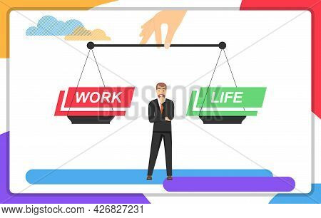Career Or Personal Life. A Man Is Faced With A Choice Of Career Or Personal Life. Vector Illustratio