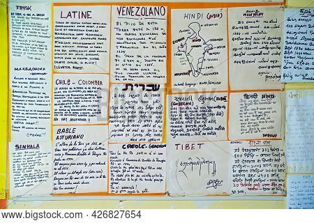 Siena, Italy - September 27, 2001: View Of A Multilingual Information Sign On The Entrance To The To
