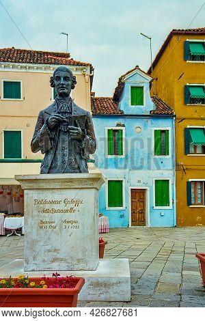 Venice, Italy - October 06, 2001: View Of The Composer Baldassare Galuppi Memorial Statue In The Bur