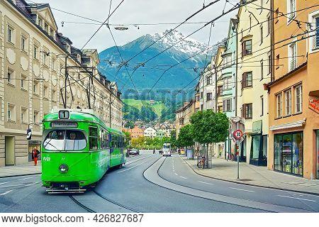 Innsbruck, Austria - September 13, 2001: Street Scene With Tram And Pedestrians, In Innsbruck, Austr