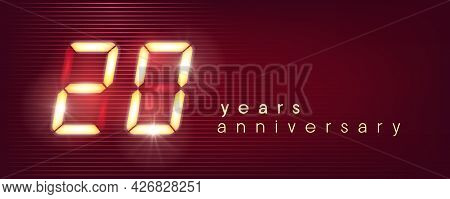 20 Years Anniversary Vector Logo, Icon. Template Banner With Electronic Numbers For 20th Anniversary