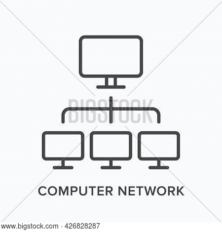 Computer Network Flat Line Icon. Vector Outline Illustration Of Ethernet. Black Thin Linear Pictogra