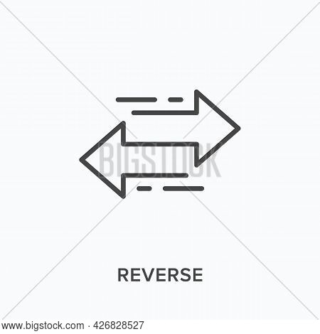 Reverse Flat Line Icon. Vector Outline Illustration Of Two Arrows. Black Thin Linear Pictogram For E