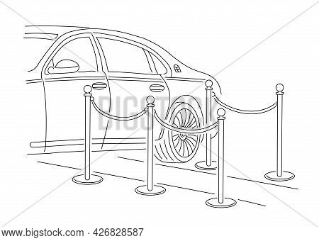 The Limousine Pulled Up To The Red Carpet. The Release Of A Movie Or Show Business Star. Vector Line