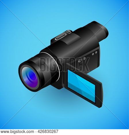 Realistic Camera-recorder In Isometry. Vector Isometric Illustration Of Electronic Device, Video Cam