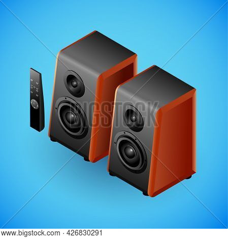 Realistic Sound Speakers In Isometry. Vector Isometric Illustration Of Electronic Device, Speakers W