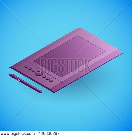 Realistic Graphics Tablet In Isometry. Vector Isometric Illustration Of Electronic Device, Graphics
