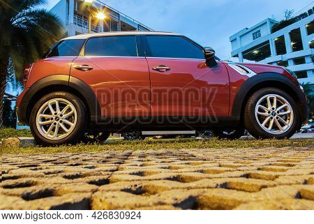 Bangkok, Thailand - 30 Jun 2021 : Side View Of Red Mini Cooper Parked In The Parking Lot. Selective