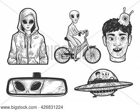 Alien In Hoodie Sweatshirt Set Collection Line Art Sketch Engraving Vector Illustration. T-shirt App