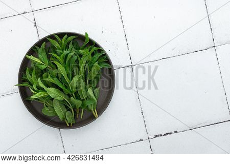 Fresh Green Sprigs Of Mint On A Plate Close-up , Top View, Copy Space