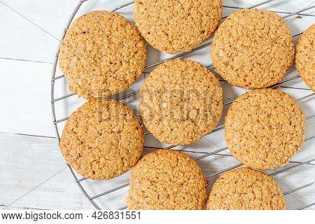 Fresh Homemade Hazelnut Cookies On A Cooling Rack..