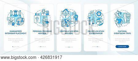 Job Training Program Benefits Onboarding Mobile App Page Screen. Placement, Events Walkthrough 5 Ste