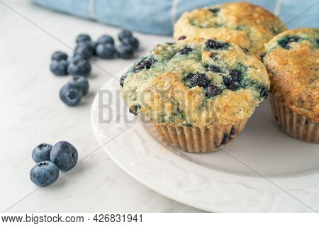 Homemade Blueberry Muffins Freshly Baked In The Home Kitchen.