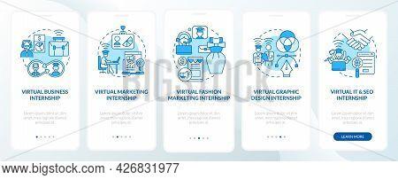 Top Remote Internship Fields Onboarding Mobile App Page Screen. Fashion Marketing Walkthrough 5 Step