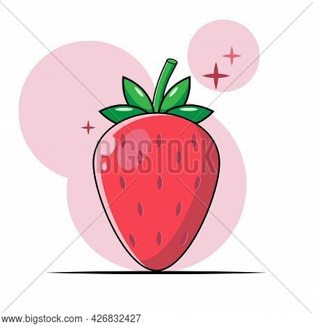 Red Berry. Strawberry Vector. Sweet Fruit. Strawberry Vector Logo In A Flat Style With A Light Pink