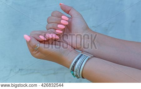 Concept Of Manicure. Spring Summer Ideas For Women, Beauty And Care For Hands And Nails