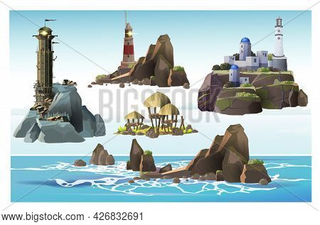 Set Of Reefs, Tropical Island, Lighthouse Towers On The Different Islands. Simple, Greek And Epic St
