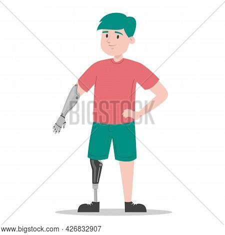 Happy Young Boy With The Prosthetic Limbs