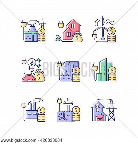 Energy Prices Rgb Color Icons Set. Hydropower, Wind Power Production Cost. Expense For Sustainable G