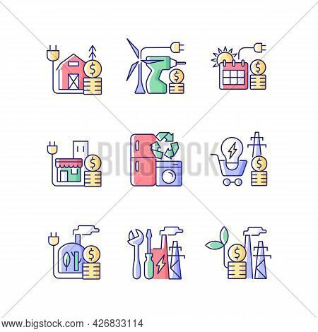 Electrical Energy Cost Rgb Color Icons Set. Appliance Recycling Program. Utility Service. Isolated V