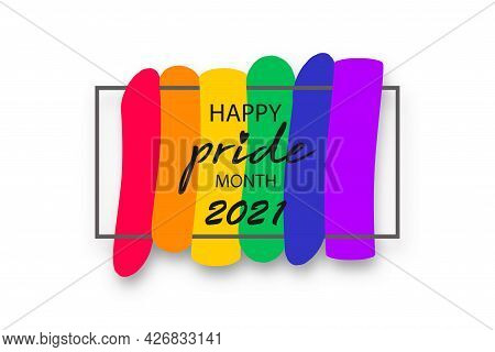 Pride Month 2021 Logo With Rainbow Flag. Banner Pride Symbol With Heart, Lgbt, Sexual Minorities, Ga