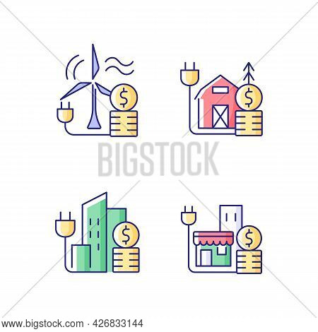 Electricity Cost Rgb Color Icons Set. Wind Energy Financial Expense. Rural Area Utility Service. Iso