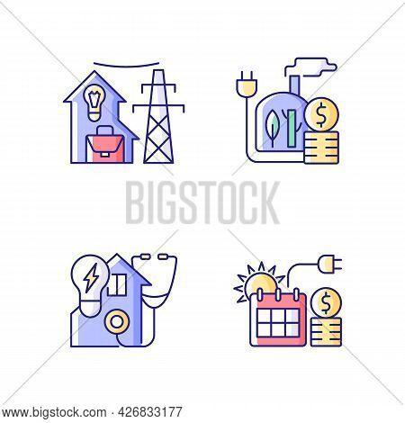 Electrical Energy Purchase Rgb Color Icons Set. Utility Service For Residential House. Biomass Power