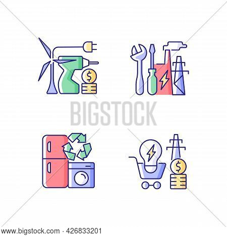 Alternative Energy Cost Rgb Color Icons Set. Equipment Installation. System Repair. Isolated Vector