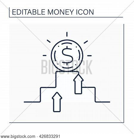 Hard Currency Line Icon. Safe-haven Or Strong Valuta. Globally Traded Currency That Serves As A Reli