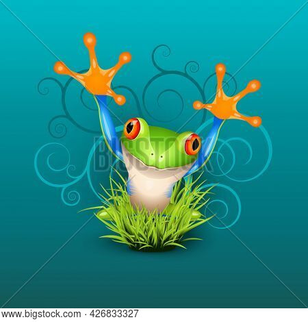 Little tree frog says hello in green grass over emerald