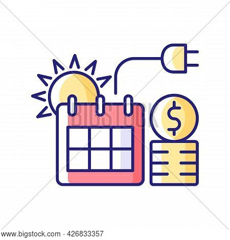 Energy Pricing In Summer Rgb Color Icon. Electricity Cost In Seasonal Period. Financial Standard For