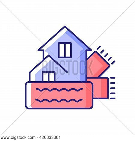 Weatherization Rgb Color Icon. Weatherproofing Building. Efficient Insulation For Home. House Heat A