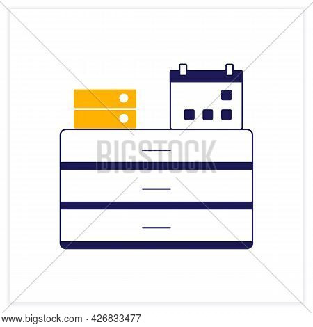 Commode Color Icon. Furniture. Commode With Calendar And Folders On It. Workplace. Office Concept. I