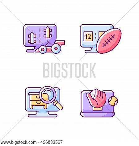 Sport Simulators Types Rgb Color Icons Set. Isolated Vector Illustrations.. Virtual Car Controlling