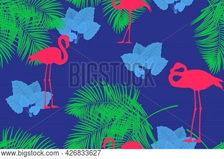 Tropical Seamless Pattern  With Flamingos, Palm Trees And Jungle Plants.