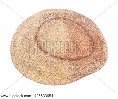 Top View Of Single Red Pebble Isolated On White Background.