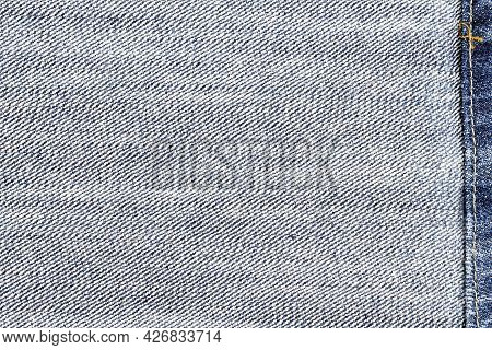 Backside Side Of Jeans Fabric With Back Seam