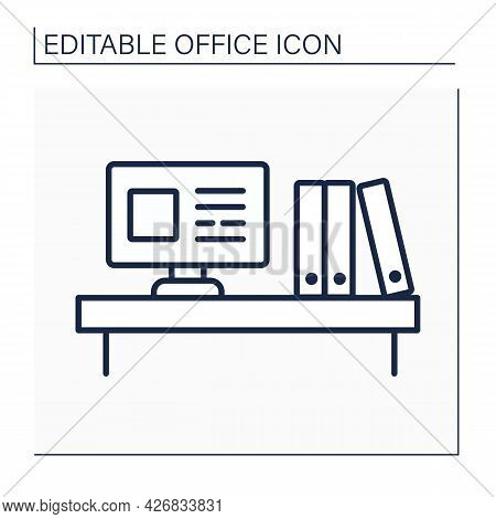 Workspace Line Icon. Laptop And Work Folders Staying On Desk. Modern Comfortable Workplace. Office C