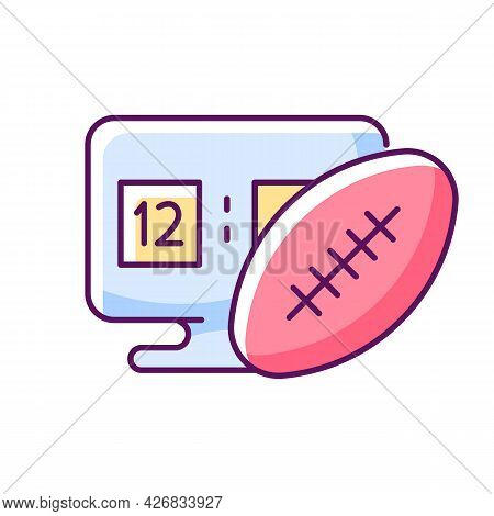 Online Football Games Rgb Color Icon. Isolated Vector Illustration.. Modern Sport Matches Simulator