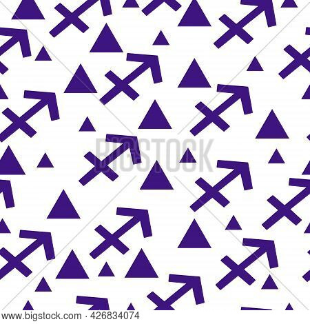 Seamless Pattern Of Blue Silhouettes Of The Zodiac Sign Sagittarius And Triangles Of Different Sizes