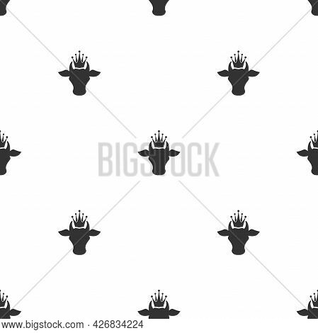 Seamless Ornament With Cow Head And Crown. Farm Animal Pattern. Best Beef, Milk, Lactose Wallpaper.