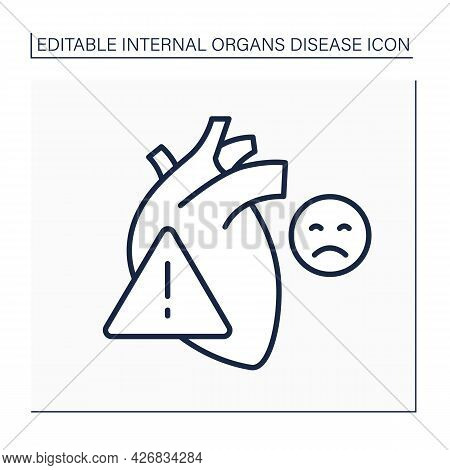 Heart Attack Line Icon. Pain In Heart. Bad Feelings. Cardiovascular Disease. Internal Organs Disease