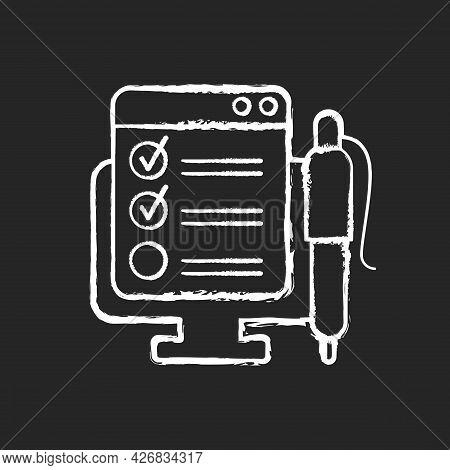 Online Form Chalk White Icon On Dark Background. Checklist For Project Task. Internet Questionnaire