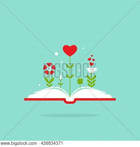 World Book Day Card. Open Book With Red Cover And Red Hearts And Flowers. Isolated On Turquoise Back