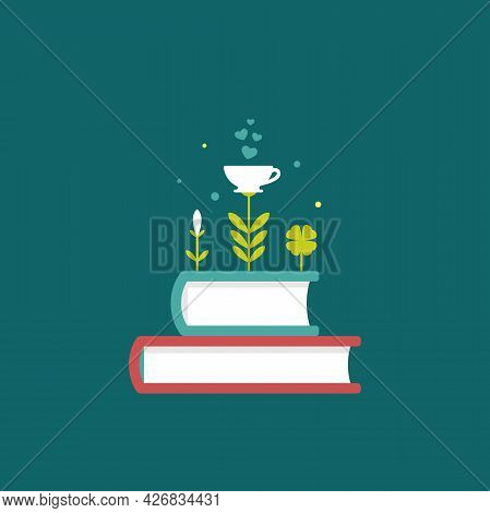 Books Stack With Flowers, Sprouts And Cup Isolated On Blue Background. Vector Flat Illustration. Mag