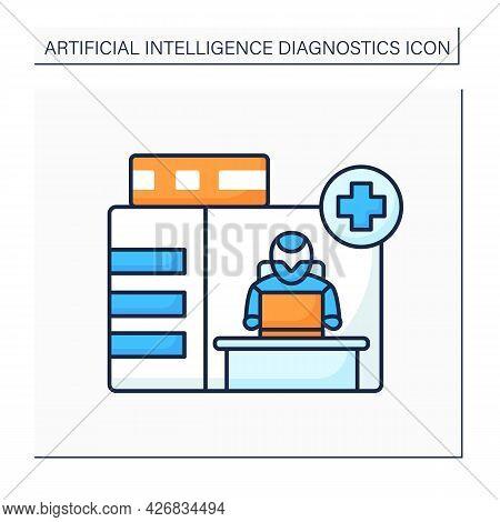 Ai In Medicine Color Icon. Emergency Service. Modern Technologies In Medical Sphere. Ai Diagnostic C