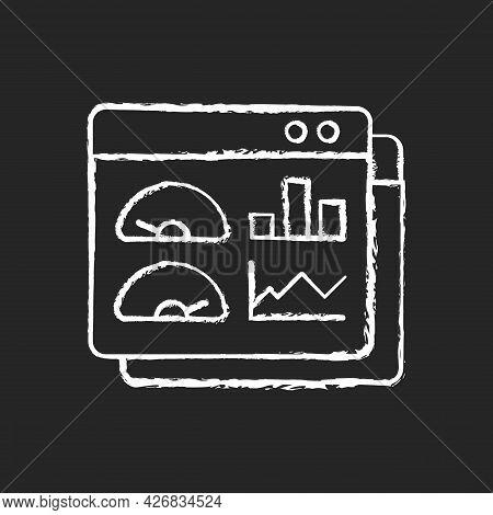 Productivity Dashboard Chalk White Icon On Dark Background. Performance Statistic. Presentation For